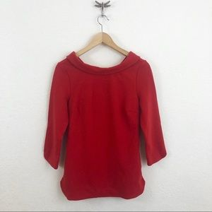 ** Boden ** red collared fitted blouse